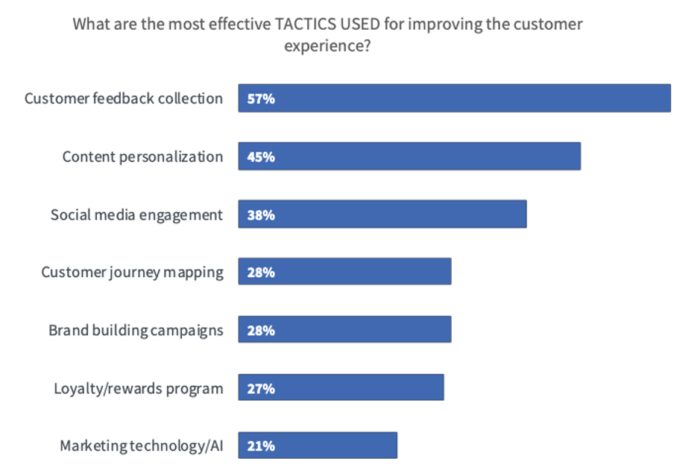 chart showing the most effective tactics for improving customer experience