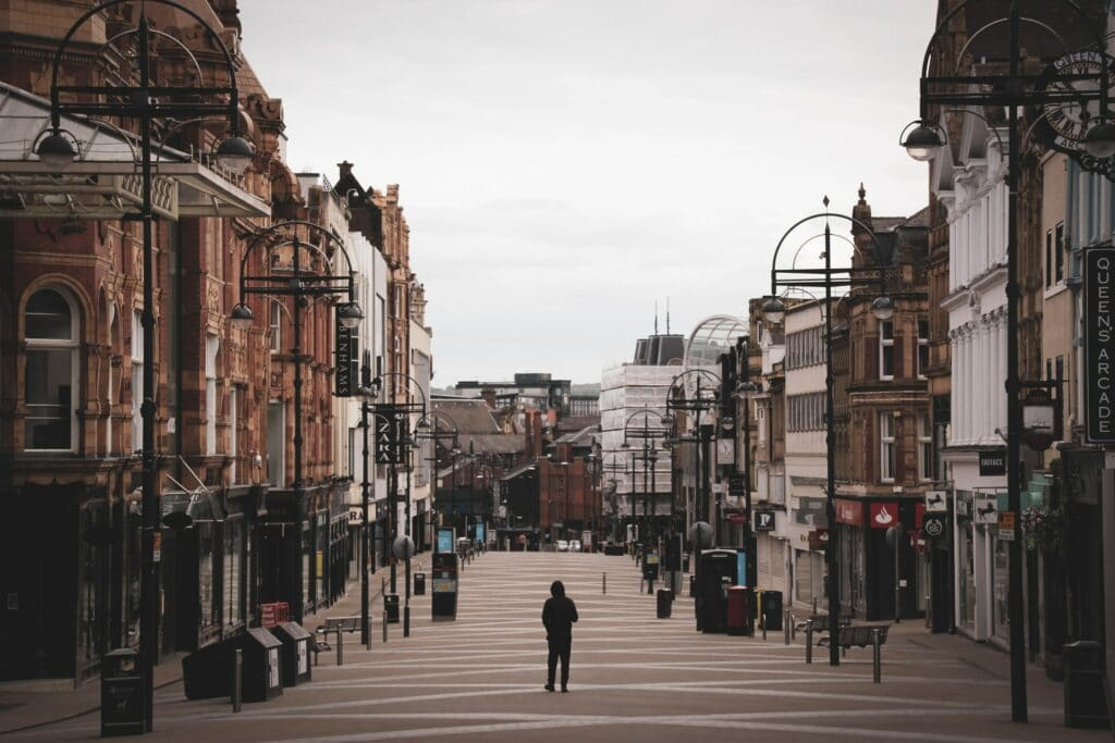 empty high street in the UK